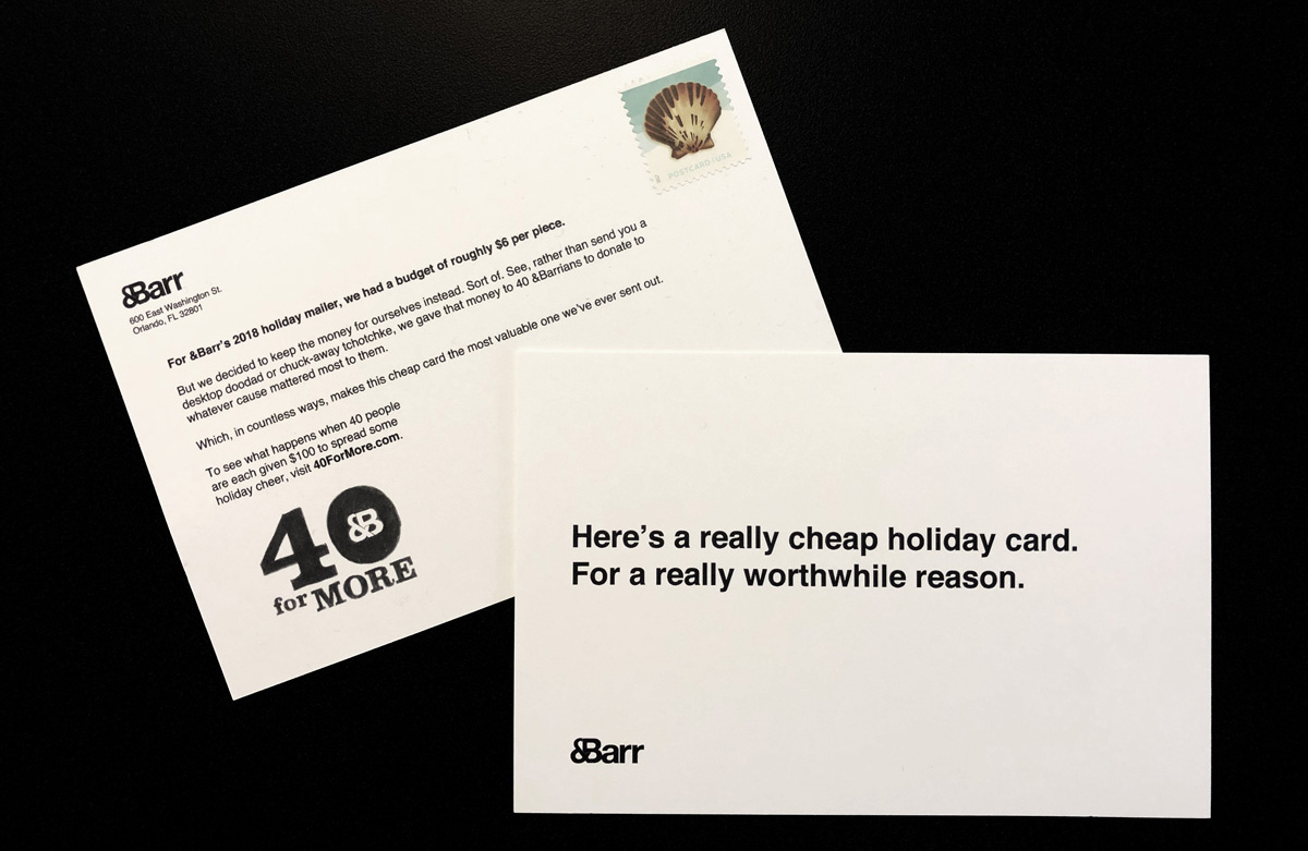 The 40 For More Holiday Card